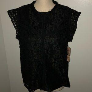 NWT! Nanette Lepore black lace top Size L